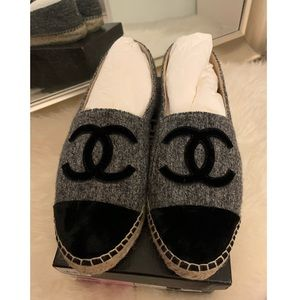Chanel Grey and Black Tweed Espadrilles Size 39